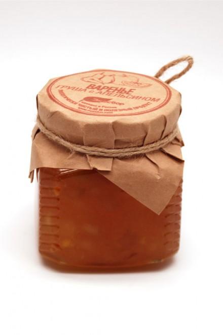 Груша с апельсином протертые с сахаром «Экосбор» 330гр
