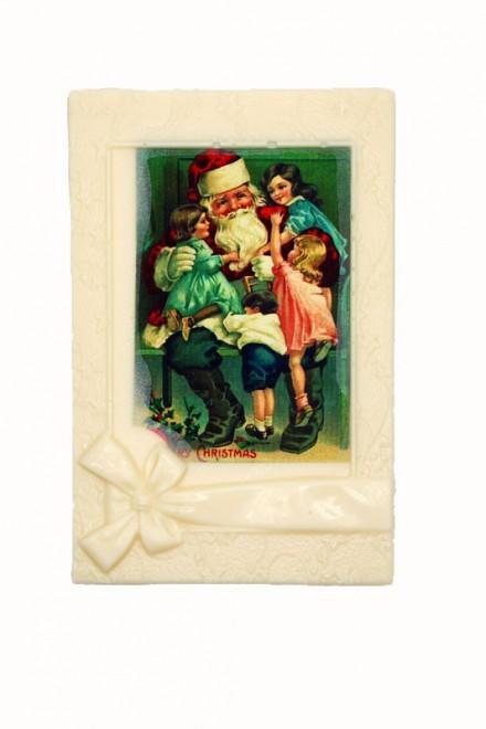 Шоколадная открытка «Дед Мороз и дети» белая глазурь 140мм х 200мм