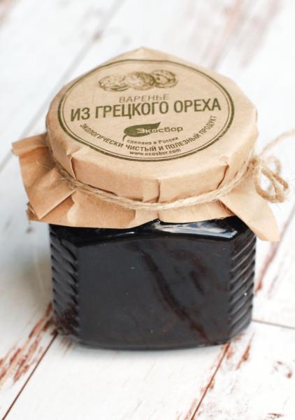 """Варенье """"Экосбор"""" из зеленого грецкого ореха 250мл/350гр"""